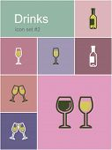 Drinks icons. Set of editable vector color illustrations in Metro style.