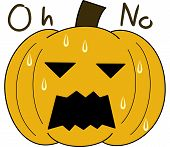 pumpkin face cartoon emotion expression sweat