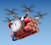 stock photo of time-bomb  - Metallic drone with time bomb on the sky background - JPG
