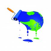 Paint Roller With Globe Vector Illustration