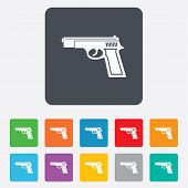 Gun sign icon. Firearms weapon symbol.