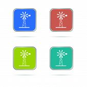 Windmill White Silhouette Icon Vector Illustration
