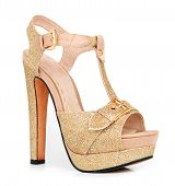 Golden Woman Shoes Isolated