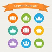 Vector icons set of different  white crowns shapes,signs