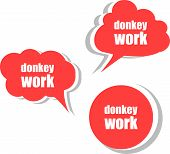Donkey Work. Set Of Stickers, Labels, Tags. Template For Infographics