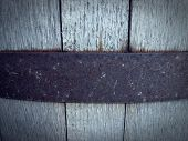 picture of planters  - Close up of the outside of a weathered wine barrel planter - JPG