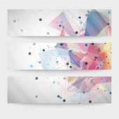 Set of abstract colored backgrounds, triangle design vector illustration