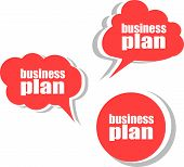 Business Plan. Set Of Stickers, Labels, Tags. Business Banners, Template For Infographics