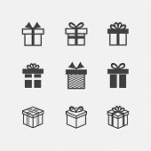 Vector Gift box black icons