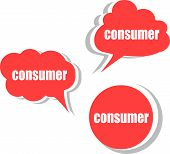 Consumer Word On Modern Banner Design Template. Set Of Stickers, Labels, Tags, Clouds