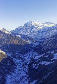 Valley And Peak In Swiss Alps Jungfrau Region
