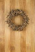 Christmas Door Wreath Light Brown On Sapele Wood Background