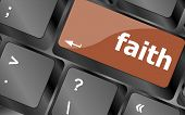 Faith Button On Computer Pc Keyboard Key