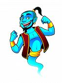 image of genie  - Blue genie being raised and clenched fist happily - JPG