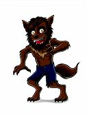 stock photo of wolfman  - wolfman is standing with a smile teeth - JPG