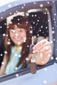 transportation, people, season and ownership concept - close up of smiling woman with car key outdoors
