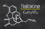 Blackboard with the chemical formula of Naloxone