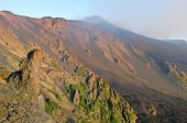 steep slope of Bove Valley and Etna summit crater south-east, Sicily