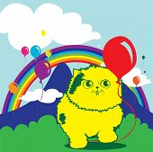 cat and the baloon