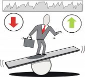 image of fulcrum  - Vector cartoon of businessman balancing on seesaw as market trends go up and down - JPG