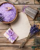 picture of sachets  - Lavender flower soap salt sachet and blank paper on a wooden background - JPG