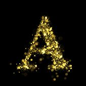Sparkling Letter A on black background. Alphabet of golden glittering stars (glittering font concept). Christmas holiday illustration of bokeh shining stars character..