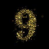 Number nine of gold glittering stars (glittering font concept).