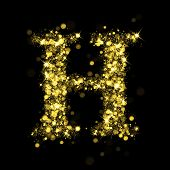 Sparkling Letter H on black background. Alphabet of golden glittering stars (glittering font concept). Christmas holiday illustration of bokeh shining stars character..