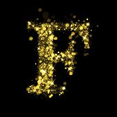 Sparkling Letter F on black background. Alphabet of golden glittering stars (glittering font concept). Christmas holiday illustration of bokeh shining stars character..
