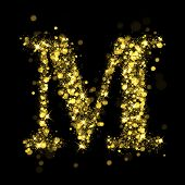Sparkling Letter M on black background. Alphabet of golden glittering stars (glittering font concept). Christmas holiday illustration of bokeh shining stars character..