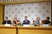 NOVOSIBIRSK, RUSSIA - OCTOBER 23, 2014: Anthony Strong, Catherine Russell and others on the press conference in honor of opening Sib Jazz Fest. The festival will run till October 25
