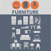 furniture, home interior design icons, signs, illustrations set, vector