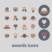 awards, victory, emblem icons, signs, illustrations set, vector
