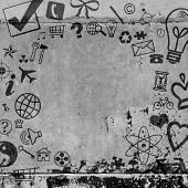 Background of various social icons on concrete floor