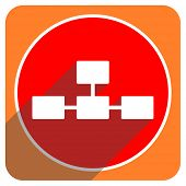 database red flat icon isolated