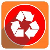recycle red flat icon isolated