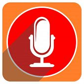 microphone red flat icon isolated