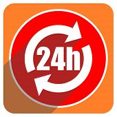 24h red flat icon isolated