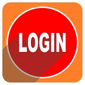 login red flat icon isolated