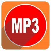 mp3 red flat icon isolated