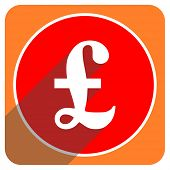 pound red flat icon isolated