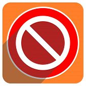 access denied red flat icon isolated