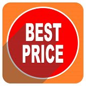 best price red flat icon isolated