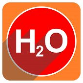 water red flat icon isolated