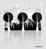 Modern infographics template style. Tree with application icon. Vector illustration.