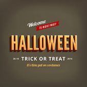 Halloween festival typography 3d vintage retro style vector design poster template.