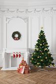 Christmas tree with gifts near a fireplace in a stucco room (3D Rendering)