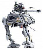 Ankara, Turkey - April 28, 2014: Lego Star Wars AT-AP with an elevating blaster cannon, spring loaded shooter and extending third leg isolated on white background.