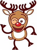Sweet Xmas reindeer smiling and winking