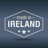 Made In Ireland Hexagonal White Vintage Label